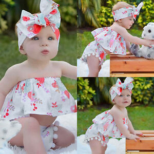 74dbe51c4b68 Newborn Baby Girl Off Shoulder T-shirt Crop Top + Shorts Pants + ...