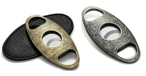 JIFENG Premium Cigar Cutter Stainless Steel Engraved Double Cut Blade W//GIFT BOX