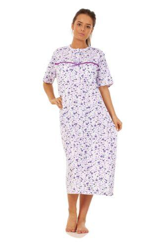 Women Cotton Long Nightdress Floral Button Short Sleeve Soft Nightwear M to 3XL