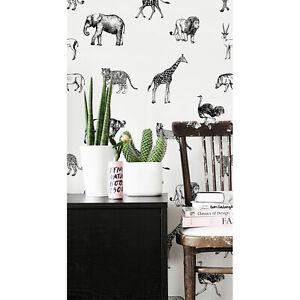 Safari Animals Elephant Giraffe Africa Decor Wall Mural Wild Removable Wallpaper Ebay