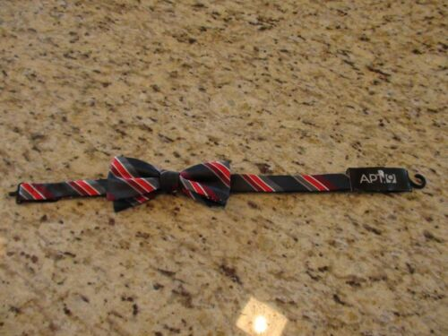 Apt 9 Red and Black Striped Adjustable Mens Bow Tie MSRP $34.00 NEW