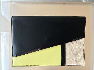 Damentaschen Handtasche Clutch Bcbg Max Azria Lederimitat Schwarz Gelb 27,5x19x2 Neu Bestellungen Sind Willkommen.
