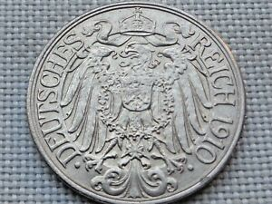 Germany-Empire-Kaiser-Wilhelm-II-25-Pfennig-1910-Crowned-Imperial-Prussian-Eagle