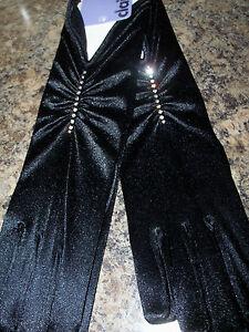 NEW Claire's Diamante satin gloves Black