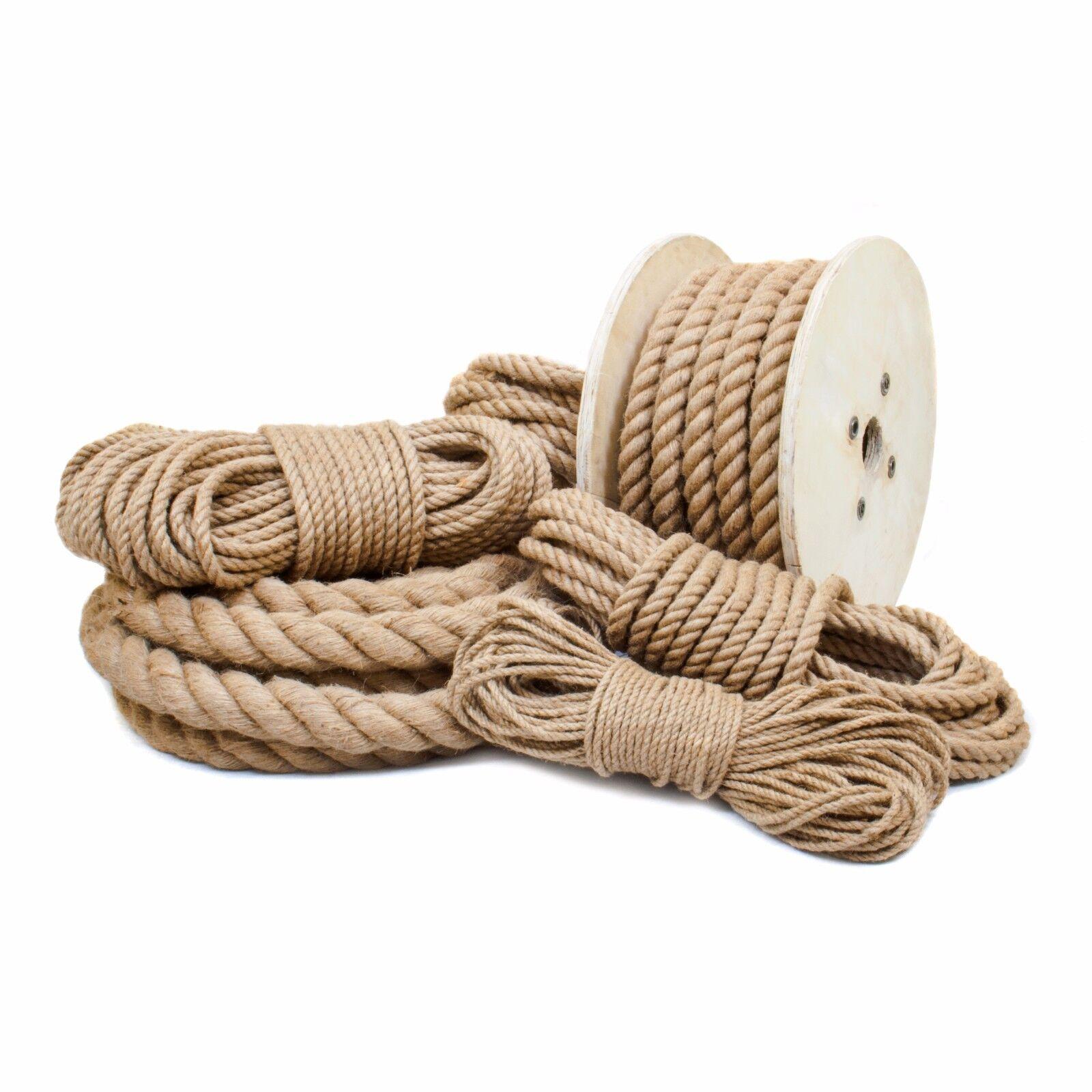 JUTESEIL 20mm Seil Hanfseil Tauwerk Hanf Naturhanf Jute Gedreht Leine Tauziehen