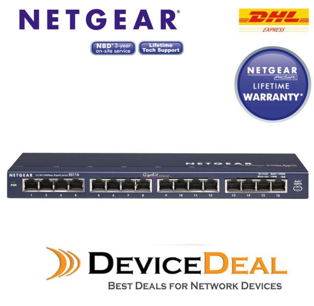 ProSafe Ethernet Switch 10//100//1000 Lifetime NETGEAR GS116 v2 16-Port Gigabit