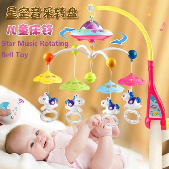 Crib Rotation Soothing Bell Newborn Educational Toy With Music Light For Infants Toddlers Baby Musical Crib Mobile Bell With Lights And Music