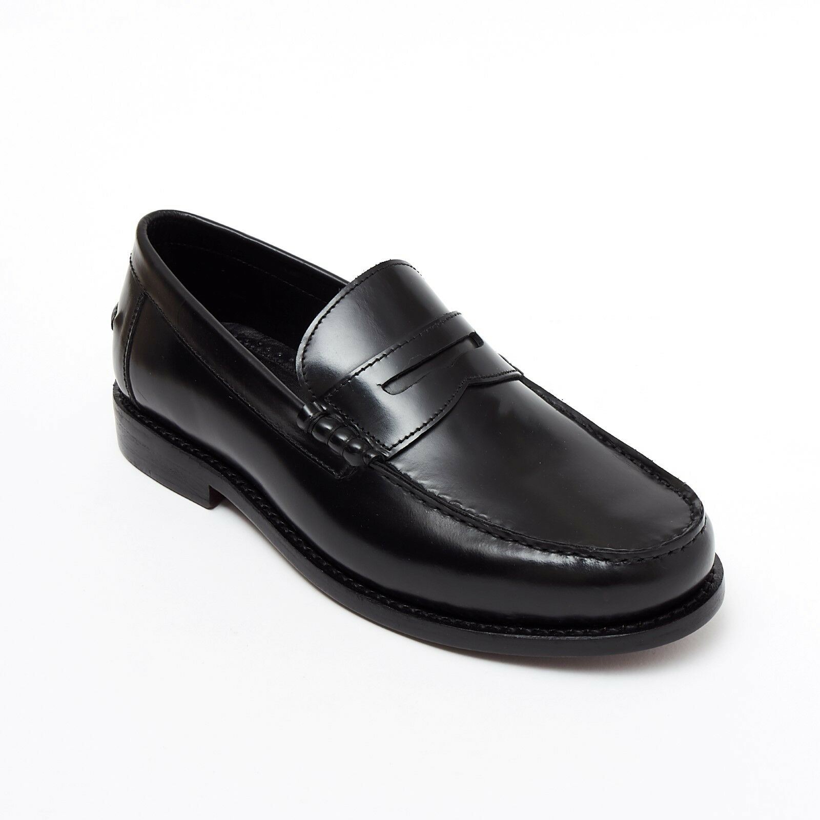 Lucini Formal Men Black Leather Moccasin Heels shoes Slip On Goodyear Welted