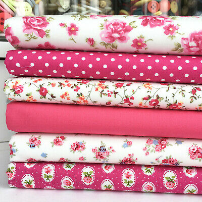 Garden Rose Cerise 100/% Cotton Floral Fabric Price per 1//2 metre