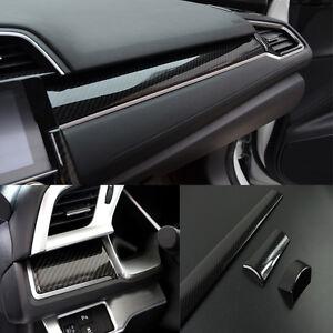 Details About 3pcs Carbon Fiber Center Dashboard Cover Trim Sticker For Honda Civic 2016 2017