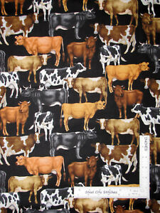 Farm-Animal-Cow-Cattle-Breed-Toss-Black-Cotton-Fabric-QT-Bountiful-By-The-Yard