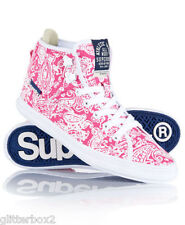 NEW £55 UK SIZE 6 SUPERDRY SUPER CRAMPON PINK PAISLEY BOOTS HI TOP RAINERS