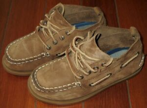 SPERRY-TOP-SIDER-TODDLER-KIDS-BOYS-SUEDE-LEATHER-BOAT-SHOES-BOOTS-US-12