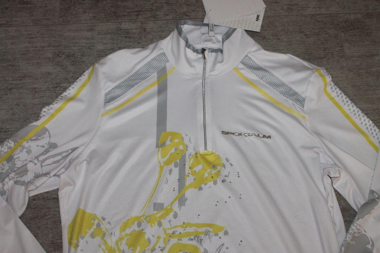 Sportalm Kitzbühel Women's Ski Sweater Soshiki White Yellow Size 42 or Us 10 New