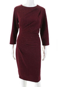 Neiman-Marcus-Womens-3-4-Sleeve-Crew-Neck-Solid-Print-Dress-Maroon-Red-Size-14
