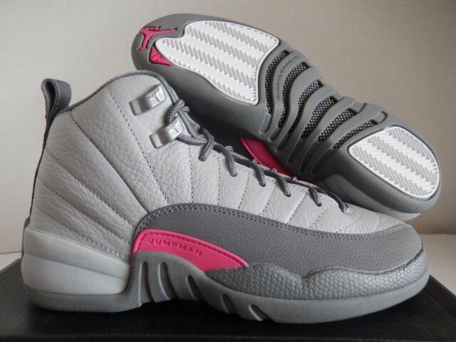 608cc9fbb604 Youth Nike Air Jordan 12 Retro Grade School Shoes Grey Pink 510815 ...