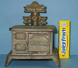 """AUTHENTIC & OLD SMALL CAST IRON TOY STOVE """"STAR"""" W/ BACK PIECE *ON SALE* CI375"""