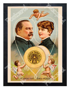Historic-Merrick-039-s-sewing-thread-w-Grover-Cleveland-Advertising-Postcard