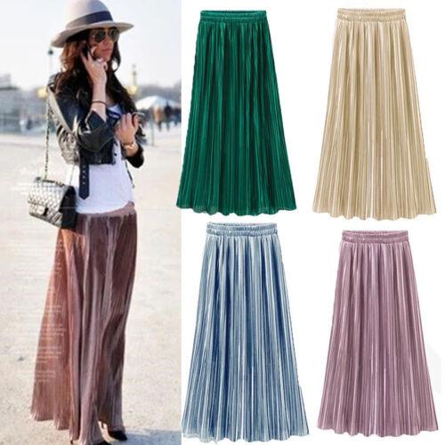 Retro Women Double Layer Pleated Long Maxi Dress Elastic Waist Skirt