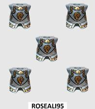 5 Lego Castle Minifig Silver Armor Breastplate Kingdoms Lion Head Pattern  New