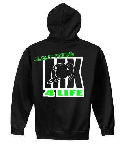 JUST RIDE MX 4 LIFE HOODIE SWEAT SHIRT MOTOCROSS MOTO