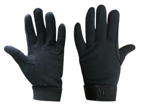 Anglais ou Western Horse Équitation Gants en coton noir avec Pebble Palm XS S M L XL