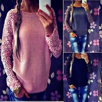 UK 8-22 Ladies Embroidery Lace Knitwear Jumper Pullover Top Shirt Sweater Blouse