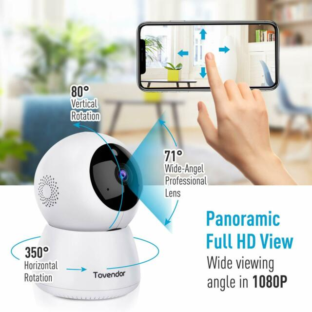 2 Way Audio Home Security Camera WiFi with Night Vision Motion Detection 1080P