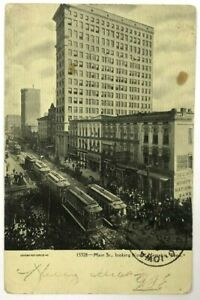 Postcard-Memphis-TN-Main-Street-View-Looking-North-Trolley-Cars-1907-Undivided