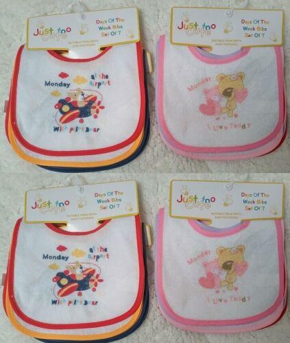 Baby Drible Baberos Pack de 7 días de la semana posterior animales Impermeable 0-6 meses.