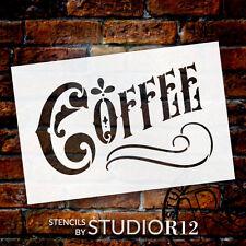Coffee Word Art Stencil - Victorian Headline - Select Size - STCL837