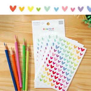 12Sheets-Rainbow-Heart-Sticker-Diario-Planner-Journal-Scrapbook-Decor-AbluND