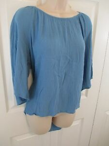 Daniel-Rain-Knit-Top-Blue-Women-039-s-Large-4-034-Back-Tail-3-4-Sleeve-Stretch