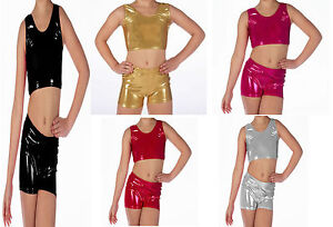 Children-Metallic-Shiny-Dance-Sleeveless-Crop-Top-amp-Shorts-5-Colour-4-Size-Lot