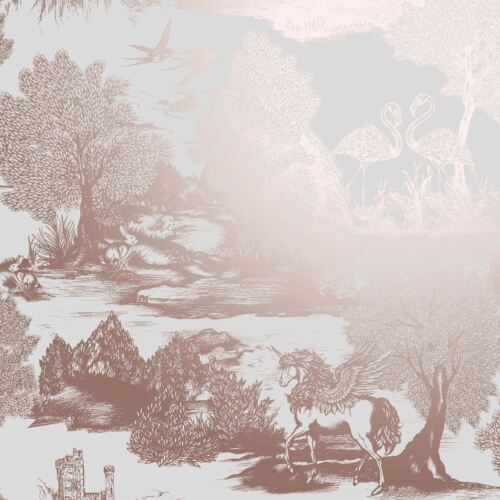 CROWN OPHELIA PEGASUS WALLPAPER METALLIC UNICORN FLAMINGO TREES SILVER ROSE GOLD