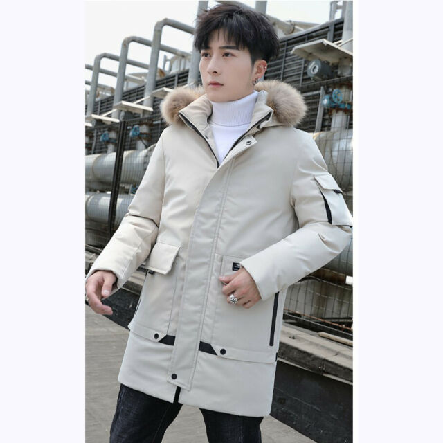 Winter Men/'s Hooded Jacket Thick Cargo Pocket Outwear Puffer Down Coat Warm Chic