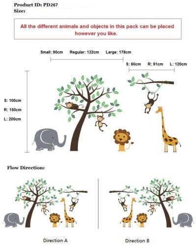 Nursery Wall Stickers Animal Jungle Safari Tree Kids Family wall Art Decals*P267
