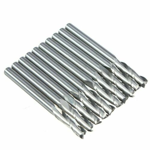 10x 1//8inch Carbide Flat Nose End Mill CNC Router Bits Single Flute Spiral Tools