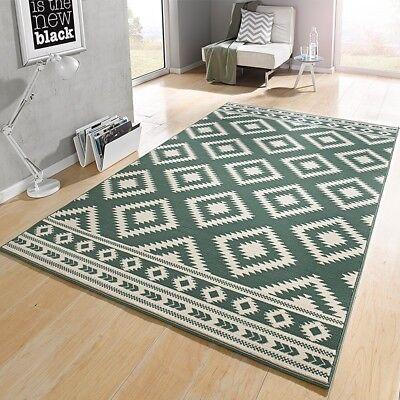 Design Velours Tapis ethnique vert crème 102409