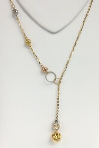 14K-Solid-Multi-tones-Gold-Cute-Balls-Dangle-18-Chain-Necklace-6-32-Grams