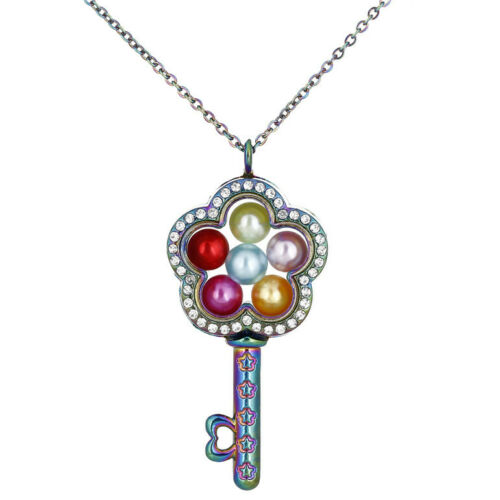 Verre souvenir flottant Médaillon Fleur clé avec strass collier C1298