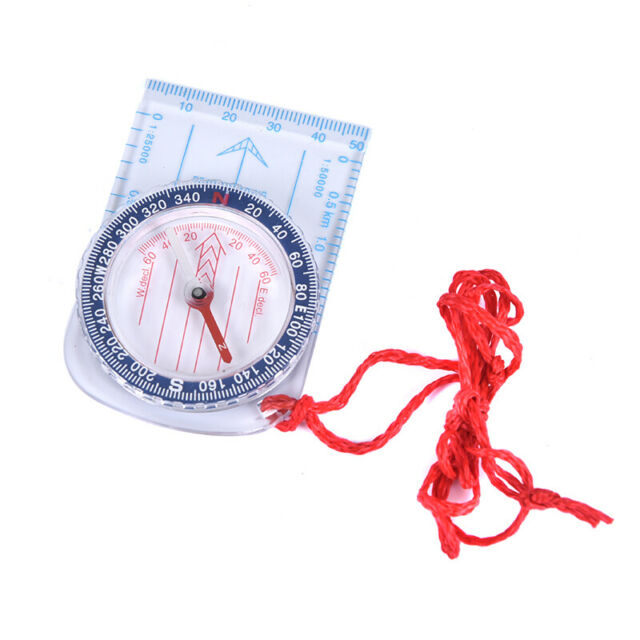 1pc Portable Compass Ruler Scale Scout Hiking Camping Boating Orienteering MapWA