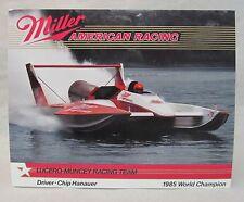 1986 CHIP HANAUER MILLER AMERICAN card promo print photo hydroplane boat racing