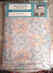 Waverly-Traditions-ASTRID-Aqua-Yellow-Fabric-Tablecloth-60-x-120-Oblong-New