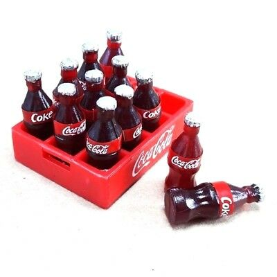 Plastic Coca Cola Mini Case and 12 Bottles Dollhouse Size