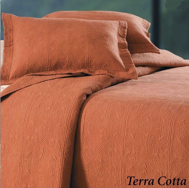 TERRA COTTA Twin Full Queen or King QUILT   RUSTIC orange MATELASSE COVERLET