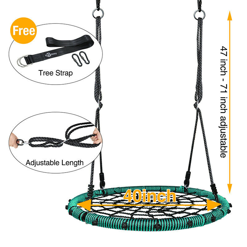 660 lb Spider Web Swing 40 inch for for for Tree Kids with Steel Frame +2 Hanging Straps 74bb3d