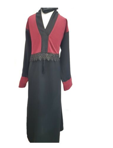 Girls Black and Top on Red Abaya Maxi Dress Madrasah,School Kids Age 2-13 Years,