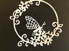 Embellishments Die Cut Flower Circle with Butterfly  White Card  Qty 6