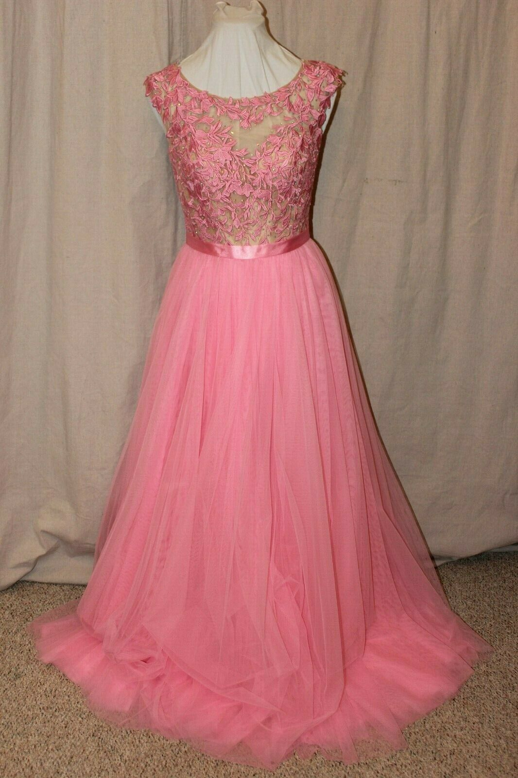 NWT Size 8 Sherri Hill 51638 Nude/Pink rhinestone tulle formal PROM GOWN